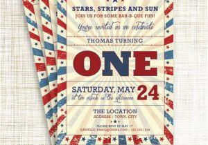 Patriotic Birthday Invitations Vintage Memorial Day Or July 4th