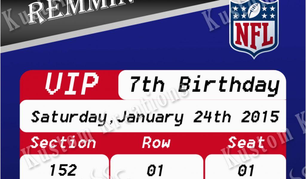 Patriots Birthday Party Invitations Nfl New England Patriots Ticket