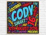 Personalised 16th Birthday Gifts for Him Personalized 16th Birthday Gift Word Art Gift for Him