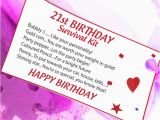 Personalised 21st Birthday Presents for Him 16th 18th 21st Birthday Gift Survival Kit Card