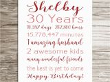 Personalised 30th Birthday Gifts for Her 30th Birthday Gift Birthday Sign Personalized Print for Her