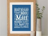 Personalised 40th Birthday Gifts for Her Personalised 40th Birthday Word Art Gift
