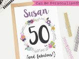 Personalised 50th Birthday Cards for Her 50th Birthday Card Personalised Customisable Greeting