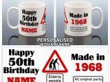 Personalised 50th Birthday Gifts for Him 50th Birthday Mug 1968 Personalised Cup 50 Gift for Him