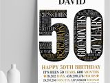 Personalised 50th Birthday Gifts for Him Personalised 50th Birthday Gift 50th Word Art Print 50th Gifts