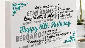 Personalised Birthday Gifts for Him Uk 60th Birthday Gift Of Personalised Typographic Art
