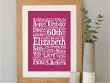 Personalised Gifts for Her 60th Birthday Personalised 60th Birthday Word Art Gift by Hope and Love