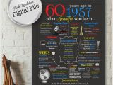 Personalised Gifts for Her 60th Birthday Personalized 60th Birthday Chalkboard Poster Design 1957