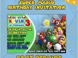 Personalised Super Mario Birthday Card Super Mario Birthday Invitations Card Invitation by