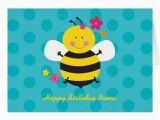 Personalize A Birthday Card Cute Bee Personalized Birthday Greeting Card Zazzle