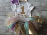 Personalized 1st Birthday Girl Outfits Baby Girl 1st Birthday Outfit Personalized Pink Gold Purple