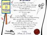 Personalized 21st Birthday Gifts for Him Gift for 21st Birthday son Personalized Laminated Card