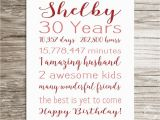 Personalized 30th Birthday Gifts for Her 30th Birthday Gift Birthday Sign Personalized Print for Her