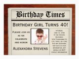 Personalized 40th Birthday Invitations Personalized Photo 40th Birthday Party Newspaper 5 Quot X 7