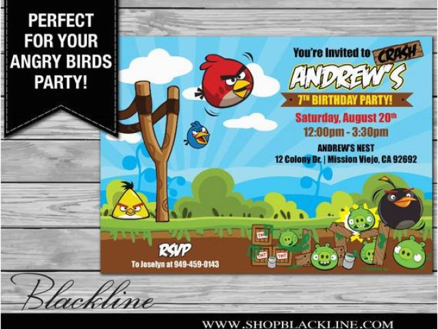Personalized Angry Birds Birthday Invitations Printed Angry Birds