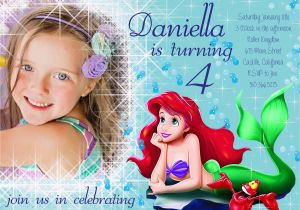 Personalized Ariel Birthday Invitations Under The Sea Photo Party Invitation With