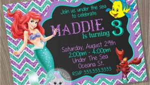 Personalized Ariel Birthday Invitations Little Mermaid Invitation Ariel Invitation Disney Little