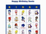 Personalized Birthday Bingo Cards sonic the Hedgehog Personalized Birthday Party Game Bingo