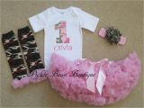 Personalized Birthday Girl Outfits Pink Camo Baby Girl 1st Birthday Outfit Personalized