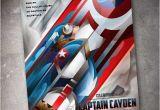 Personalized Captain America Birthday Invitations Captain America 5×7 Birthday Invitation