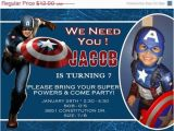 Personalized Captain America Birthday Invitations Captain America Birthday Invitation by asapinvites On Etsy