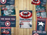 Personalized Captain America Birthday Invitations Captain America Birthday Invitations