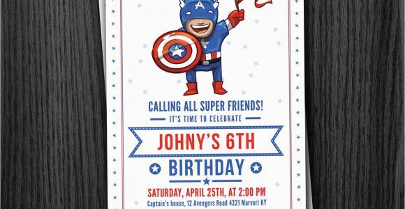 Personalized Captain America Birthday Invitations Captain America Custom Birthday Invitation by Phorestdesign
