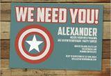 Personalized Captain America Birthday Invitations Custom Captain America Super Hero Birthday Party