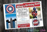 Personalized Captain America Birthday Invitations Personalized Custom Captain America Birthday Party