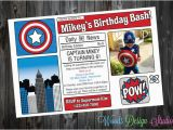 Personalized Captain America Birthday Invitations Personalized Custom Captain America Birthday Party