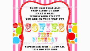 Personalized Circus Birthday Invitations Personalized Circus Birthday Invitations