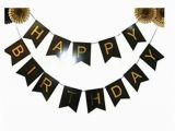 Personalized Happy Birthday Banner Walmart Black and Gold Foil Happy Birthday Bunting Banner Black