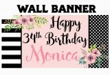 Personalized Happy Birthday Banners Online Happy Birthday Banner Birthday Blush Personalized Party