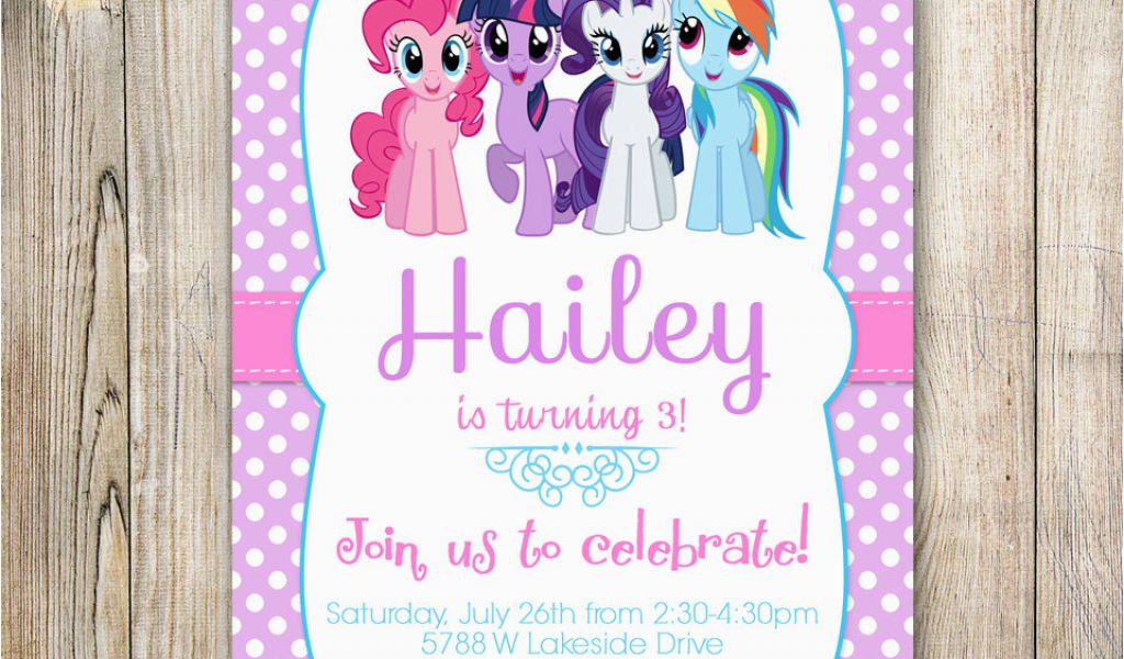 Personalized Invitation Card For Birthday My Little Pony