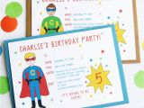 Personalized Invites for Birthday Superhero Personalised Birthday Party Invitations by