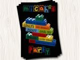 Personalized Lego Birthday Invitations Custom Lego Building Block Birthday Party Invitation Ebay