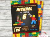 Personalized Lego Birthday Invitations Lego Birthday Invitation Personalized Lego Block Party
