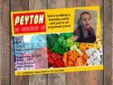 Personalized Lego Birthday Invitations Lego Box Birthday Invitation Personalized with Your Info and