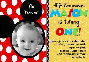 Personalized Mickey Mouse 1st Birthday Invitations Custom Ideas Bagvania Free