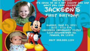 Personalized Mickey Mouse 1st Birthday Invitations Mickey Mouse Photo Birthday Invitations Drevio
