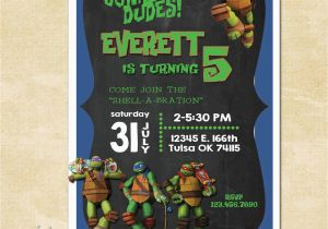 Personalized Ninja Turtle Birthday Invitations Turtles Custom Invitation