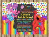 Personalized Sesame Street Birthday Invitations Elmo and Abby Birthday Invitations Custom Sesame Street