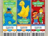 Personalized Sesame Street Birthday Invitations Personalized Sesame Street Birthday Ticket Invitation Cards