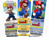 Personalized Super Mario Birthday Invitations Super Mario Birthday Ticket Invitations Printable Custom
