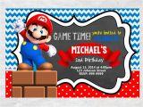 Personalized Super Mario Birthday Invitations Super Mario Brothers Birthday Invitation Chalkboard Chevron