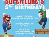 Personalized Super Mario Birthday Invitations Super Mario Brothers Custom Birthday Party Invitation