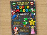 Personalized Super Mario Birthday Invitations Super Mario Invite Super Mario Brothers Birthday Invitation