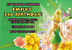 Personalized Tinkerbell Birthday Invitations Personalized Disney Tinkerbell Birthday Invitation Digital