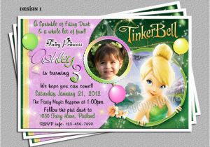 Personalized Tinkerbell Birthday Invitations Personalized Tinkerbell Birthday Party Invitations Diy