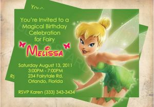 Personalized Tinkerbell Birthday Invitations Tinkerbell Fairy Birthday Invitation Custom Made by